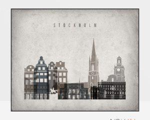 Stockholm art print landscape retro