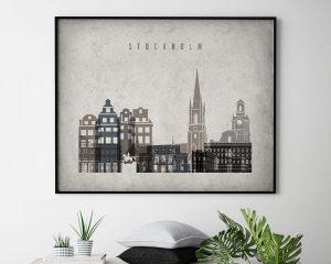 Stockholm art print landscape retro second