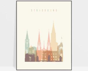 Strasbourg poster skyline pastel cream