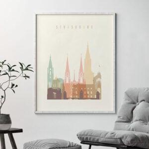 Strasbourg poster skyline pastel cream second