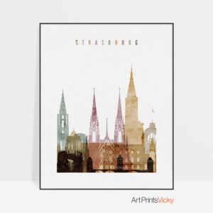 Strasbourg skyline print watercolor 1