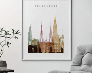Strasbourg skyline print watercolor 1 second