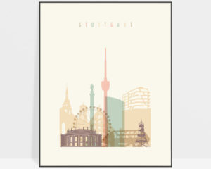 Stuttgart art print skyline pastel cream