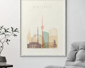 Stuttgart art print skyline pastel cream second