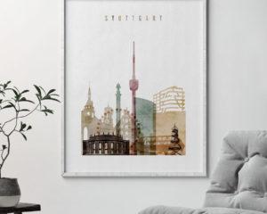 Stuttgart poster watercolor 1 second