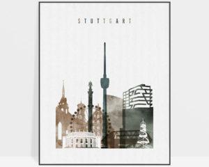 Stuttgart skyline poster watercolor 2