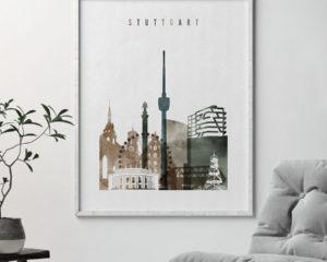 Stuttgart skyline poster watercolor 2 second