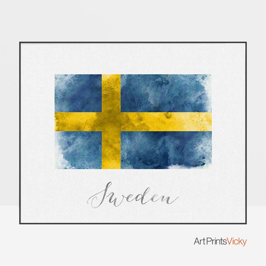 Sweden flag art print