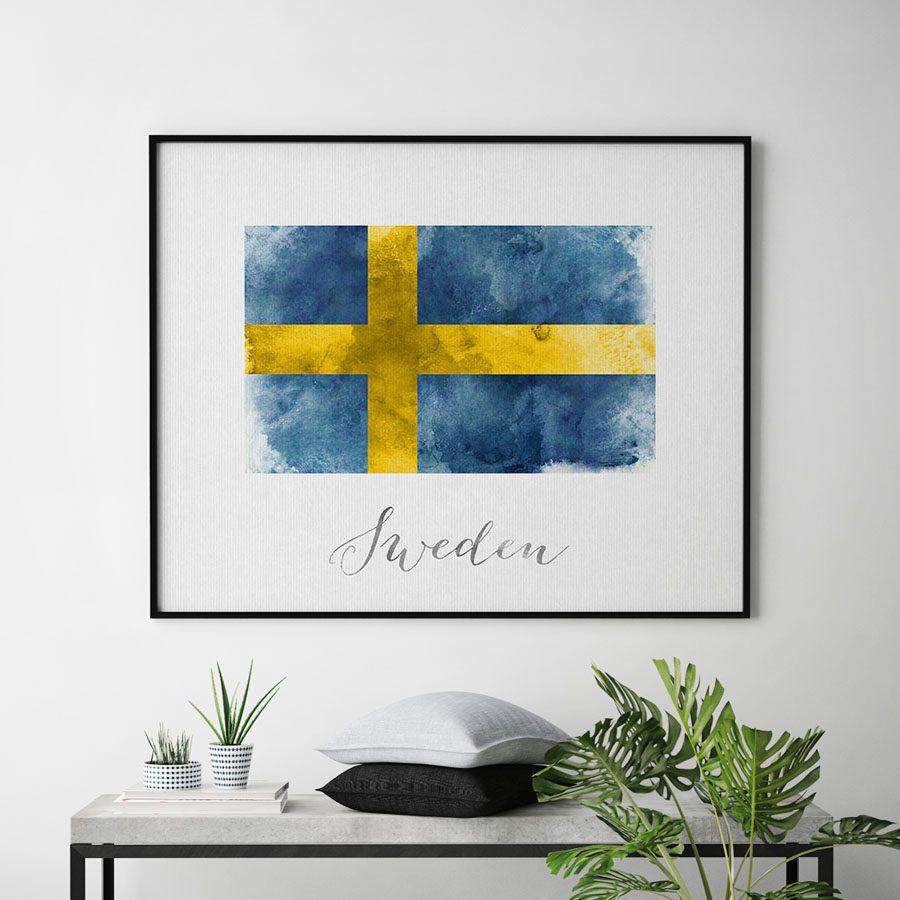 Sweden flag art print second
