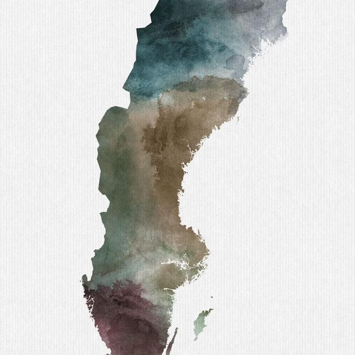 Sweden map print detail