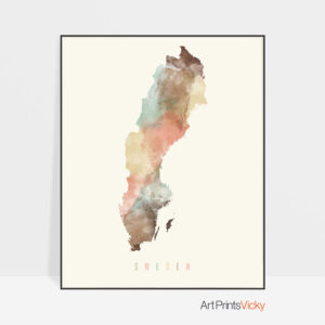 Sweden watercolor map poster pastel