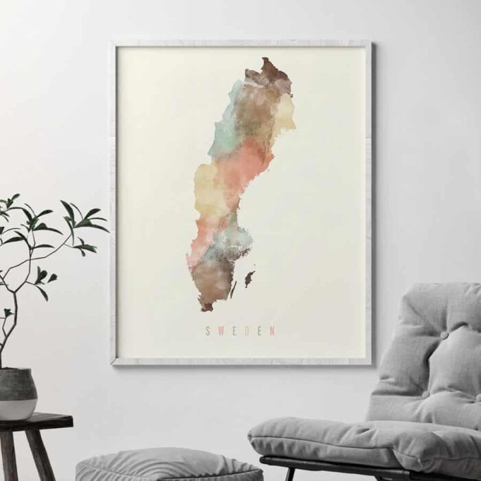 Sweden watercolor map poster pastel second