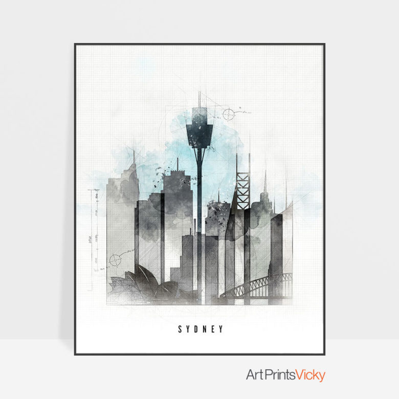 Sydney skyline art print urban