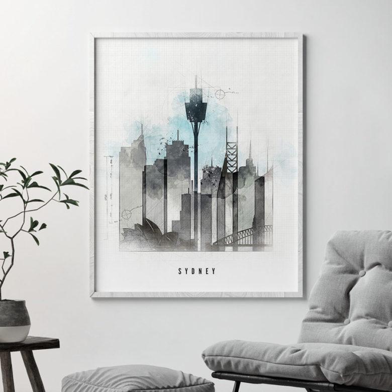 Sydney skyline art print urban second