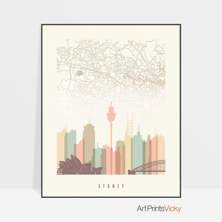 Sydney map skyline print