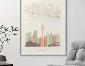 sydney map print poster pastel cream second photo at artprintsvicky.com