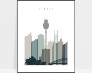 Sydney art print skyline earth tones 4