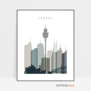 Sydney art print skyline earth tones 4