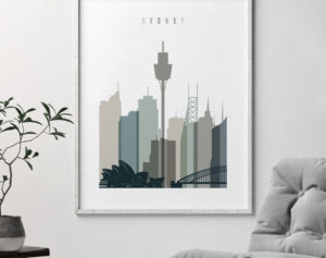 Sydney art print skyline earth tones 4 second
