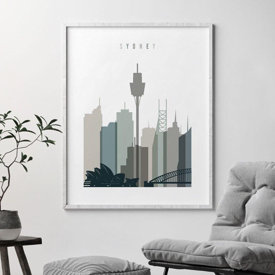 Sydney art print skyline earth tones 4 second
