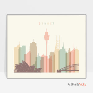 Sydney art print pastel cream landscape