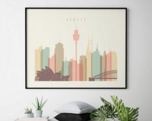 Sydney art print pastel cream landscape second