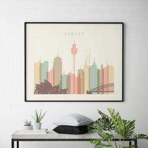 Sydney art print pastel cream landscape second
