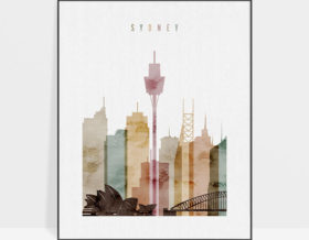 Sydney skyline poster watercolor 1