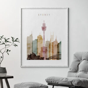 Sydney skyline poster watercolor 1 second
