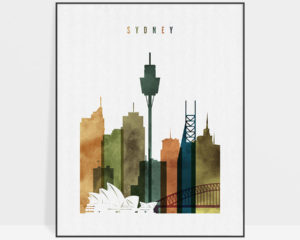 Sydney skyline art watercolor 3