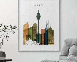 Sydney skyline art watercolor 3 second