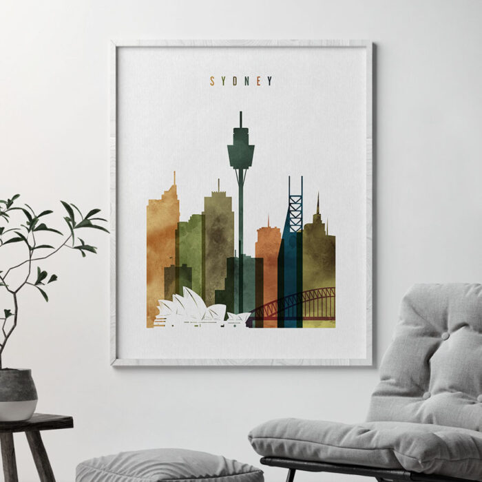 Sydney skyline art watercolor 3 second