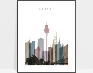 Sydney skyline poster distressed 1