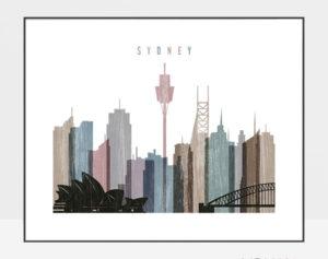 Sydney print landscape distressed 1