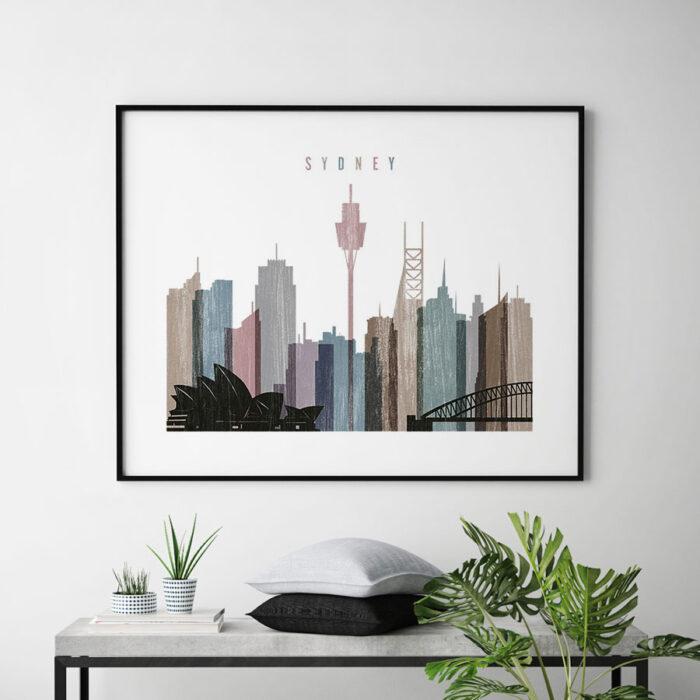 Sydney print landscape distressed 1 second