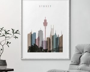 Sydney skyline poster distressed 1 second