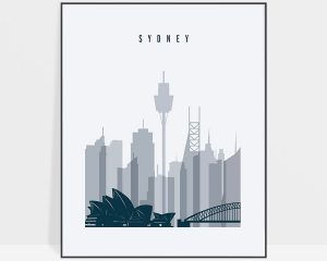 Sydney skyline poster grey blue