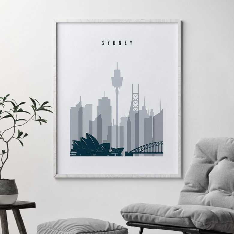 Sydney skyline poster grey blue second
