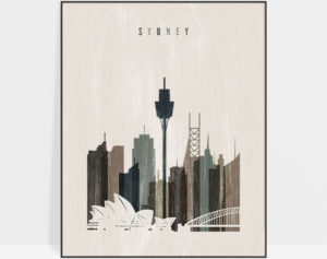Sydney skyline print distressed 2