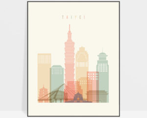 Taipei art print skyline pastel cream
