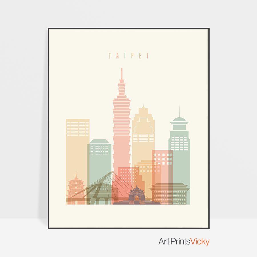 Taipei art print skyline pastel cream