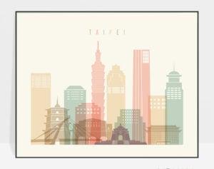 Taipei art print pastel cream landscape