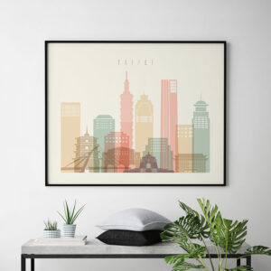 Taipei art print pastel cream landscape second