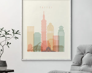Taipei art print skyline pastel cream second