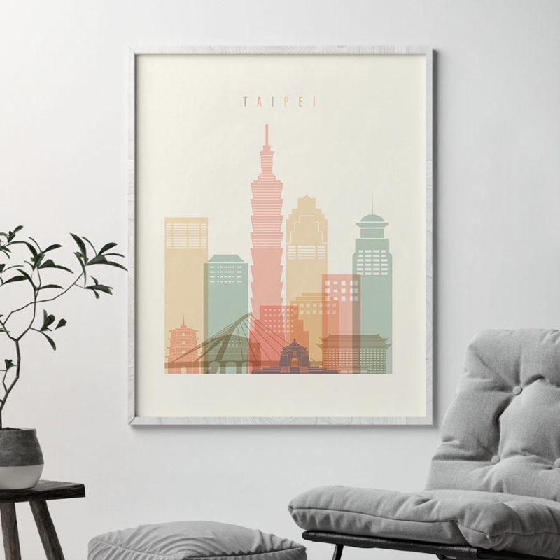 Taipei art print skyline pastel cream second