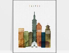 Taipei skyline art watercolor 3