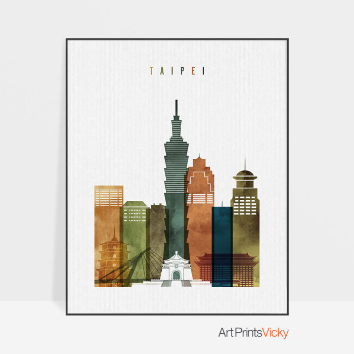 Taipei skyline art watercolor 3