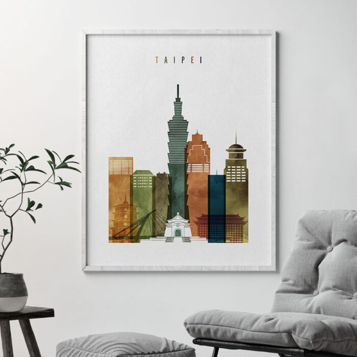 Taipei skyline art watercolor 3 second