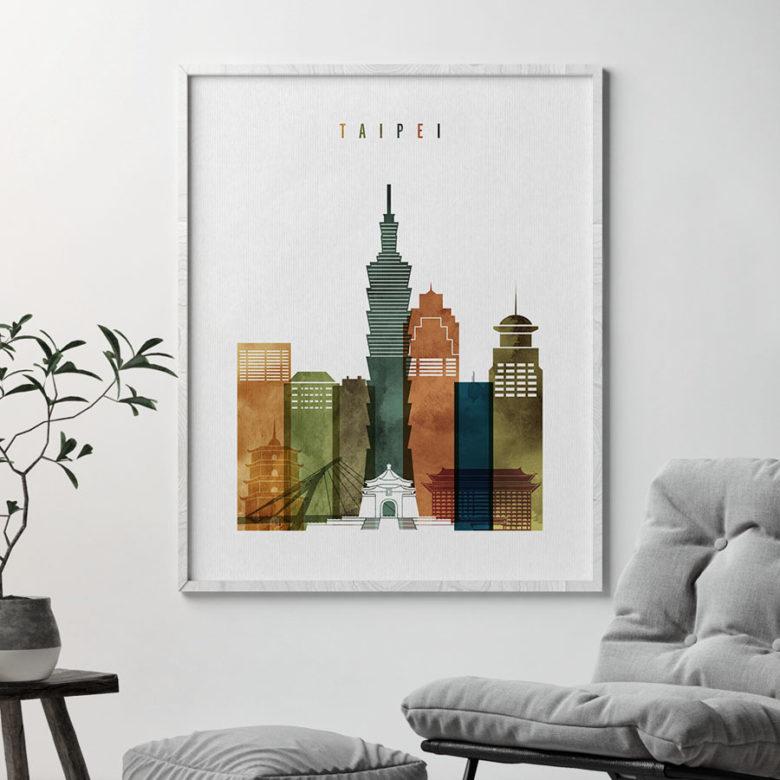 Taipei skyline art watercolor 3 second