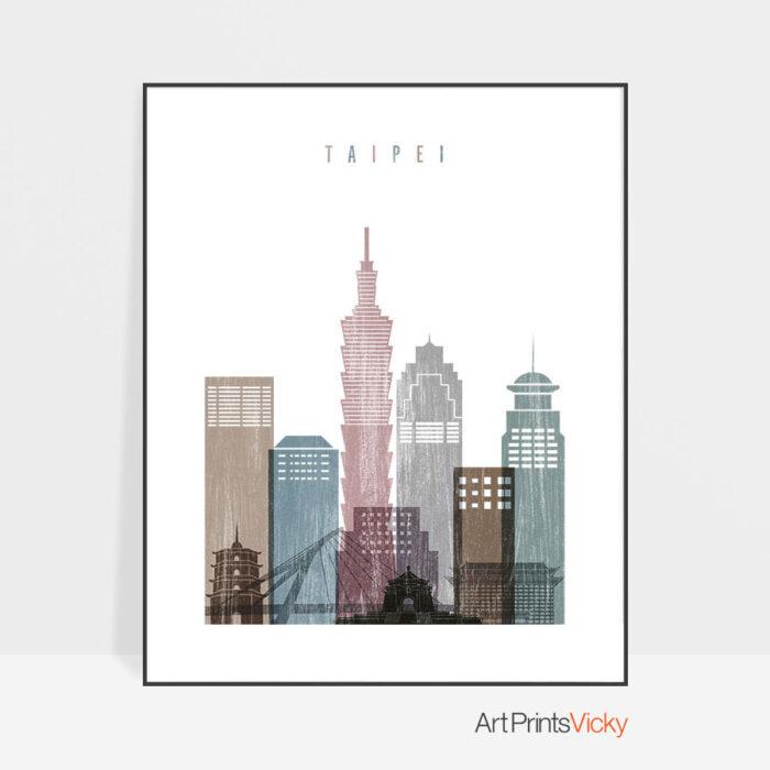 Taipei skyline poster distressed 1